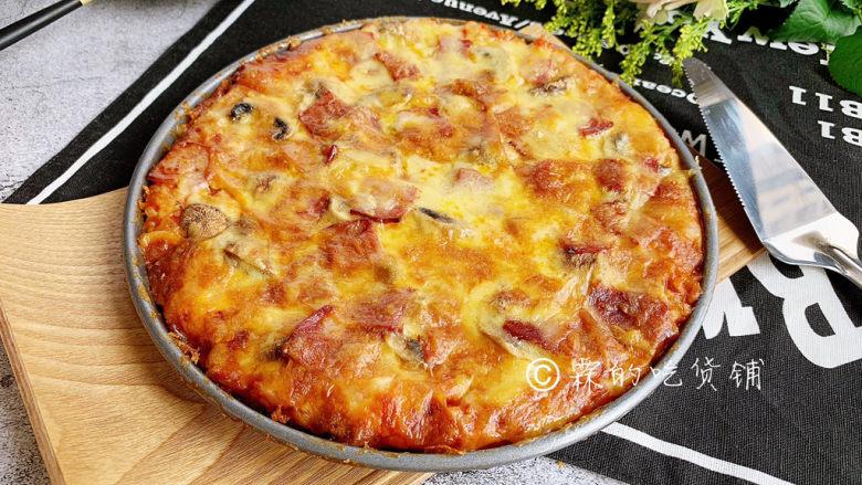 冬至美食 培根蘑菇披萨,完成。