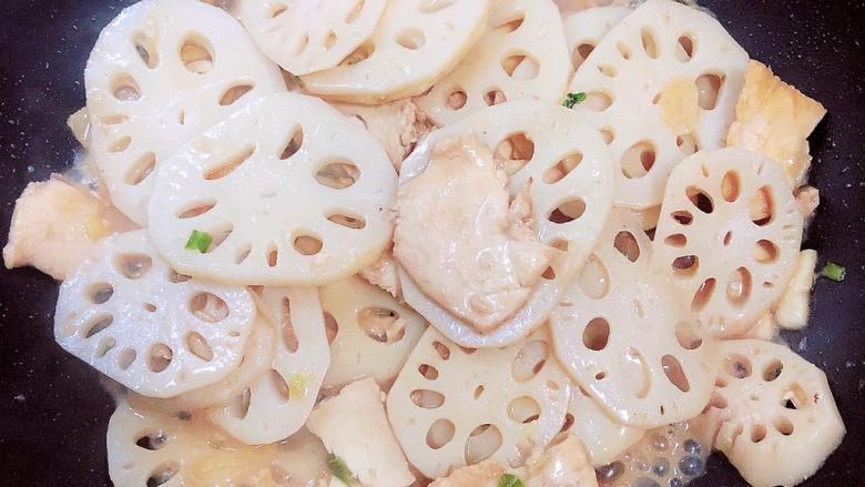 莲藕炒肉片,收汁儿,即可出锅喽!