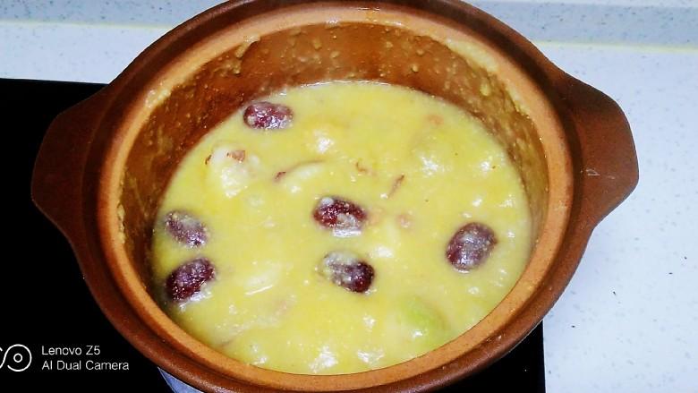 红薯、蔓菁、红枣、花生、玉米面粥,煮30分钟