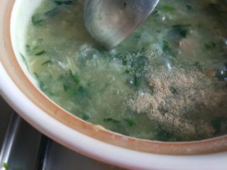 菠菜猪肝粥,搅拌均匀即可。