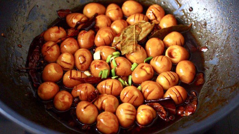啤酒香卤鹌鹑蛋,撒上葱花即可关火,卤好的鹌鹑蛋泡在汤汁里半个小时更入味。