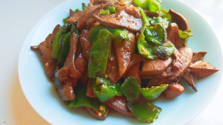 辣椒炒猪肝,成品图