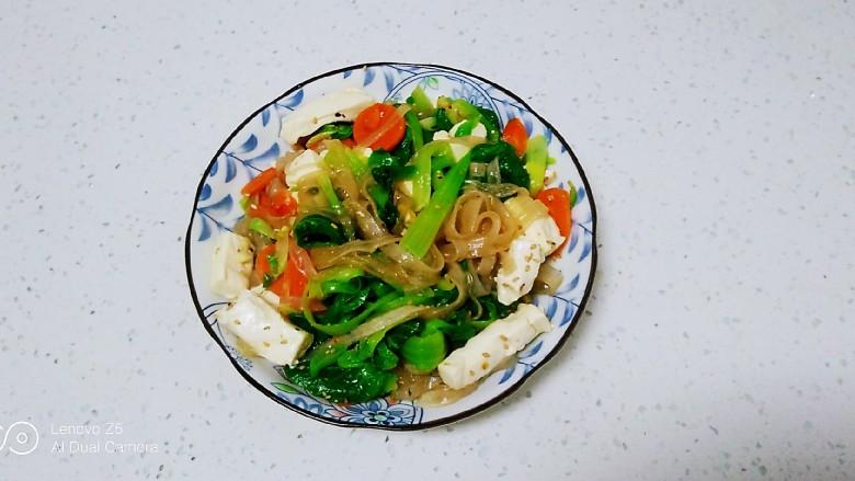 凉拌内酯豆腐、上海青、粉条