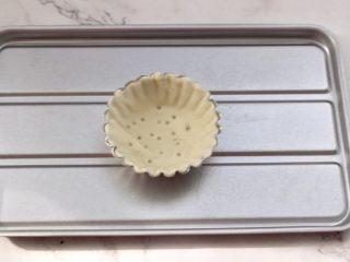 虾仁时蔬迷你小披萨~饺子皮版,这个时候把饺子皮铺入模具里贴紧,用牙签扎几个眼。