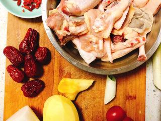 冬日暖身鸡汤,所需食材如图