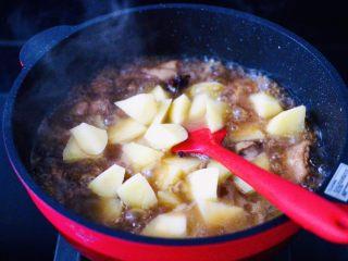 咖喱鸡肉土豆,加入土豆块后,盖上锅盖中火继续炖煮10分钟。