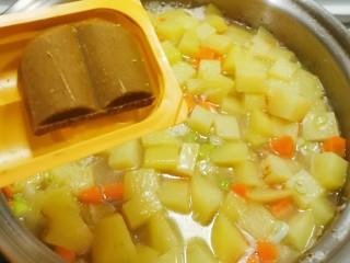 咖喱鸡肉土豆,水开之后放入咖喱