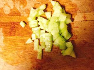 快手早餐——土豆番茄蒸糕,黄瓜切丁