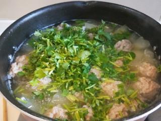 东瓜汆丸子,在开锅煮两分钟即可,加入香菜,香油,白胡椒,盐。