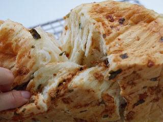 香葱肉松手撕面包,晾凉手撕着吃😋