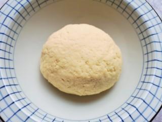 香菇虾仁饺子,加入温水,先用筷子搅拌成絮状,再揉成面团,盖上保鲜膜饧半个小时。