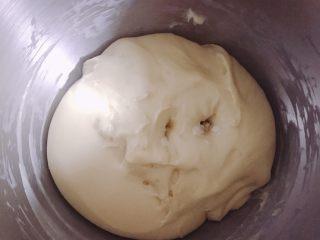 菠萝面包,用食指沾面粉戳不回弹不塌就发酵好了。