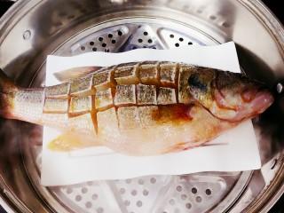 清蒸鲈鱼-年年有余,放在烧开水的蒸锅中