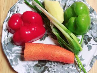 酱焖黄花鱼,准备好红椒、青椒、胡萝卜、小葱、姜。