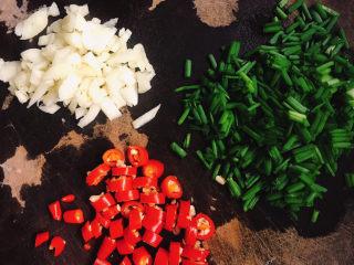 蒸黑茄子,小米辣、大蒜、小葱切碎备用。