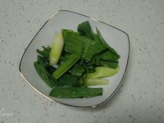 西紅柿燉雞腿、牛肉,蒜苗切段