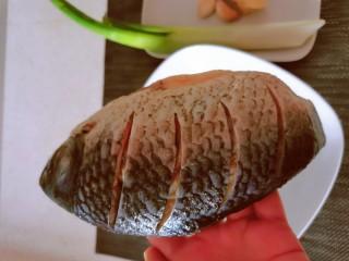 香煎鯽魚,魚收拾干凈  在魚身上劃幾刀 方便入味