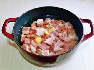 牛腩萝卜汤,锅中加纯净水,放入牛腩块,姜片。