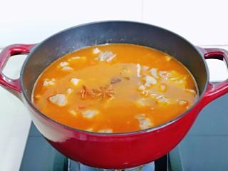 牛腩萝卜汤,再加入纯净水,八角,桂皮,十三香,水量可以适当多一些,如果不喜欢喝汤,也可以少加一点水,但是建议不要太少,因为炖的时间比较久,中途不能加水。