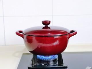 牛腩萝卜汤,盖上珐琅铸铁锅盖子大火烧开,转小火慢炖40分钟。(时间可以根据个人喜欢的口感增减)