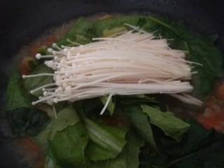 酸汤肥牛金针菇,加入金针菇。