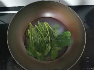 番茄牛腩面,菠菜放锅里烫一下