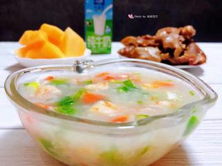 蔬菜虾仁粥,还有水果、鲜牛奶和卤猪蹄好吃😋极了