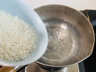 蔬菜虾仁粥,雪平锅加入清水大火烧开放入大米