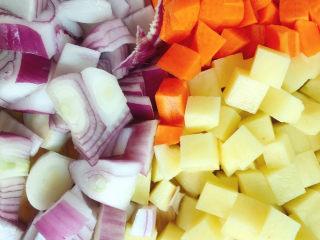 咖喱饭🍛,土豆、胡萝卜、洋葱切粒备用。