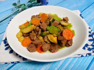 杏鲍菇炒牛肉,成品图