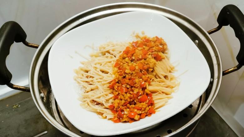粉丝蒸金针菇,上锅蒸制10分钟