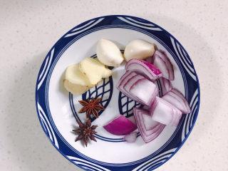 牛肉炖豆腐,所需的配料,洋葱,姜,蒜头还有八角。