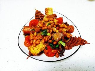 卤花生米、豆腐串、胡萝卜、山药、带鱼、上海青