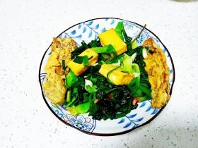 豆腐、带鱼炒菠菜、上海青
