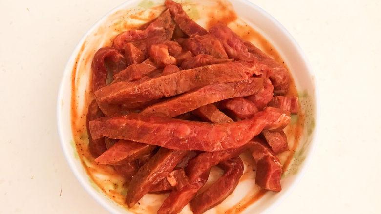 黑胡椒牛柳,牛肉处理好了,可以做菜了
