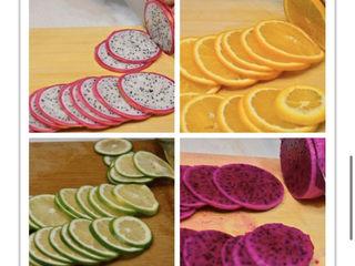 养颜减负的水果茶,将水果切成约3mm厚的薄片
