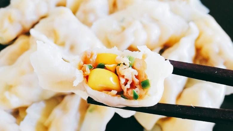 玉米猪肉饺,开吃,一口气干了一盘
