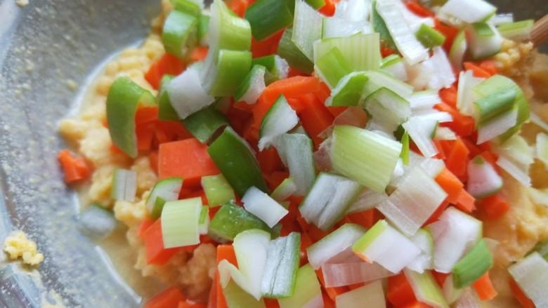鸡蛋玉米饼,葱丁放入盆中。