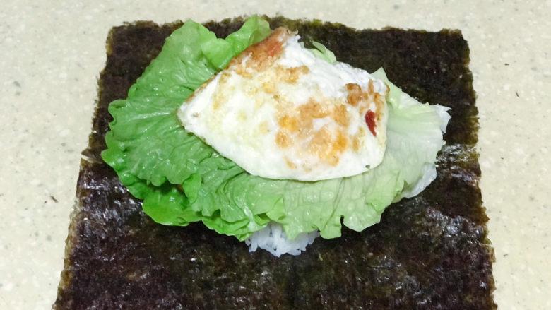 浅湘食光&海苔饭团,放卷好的鸡蛋