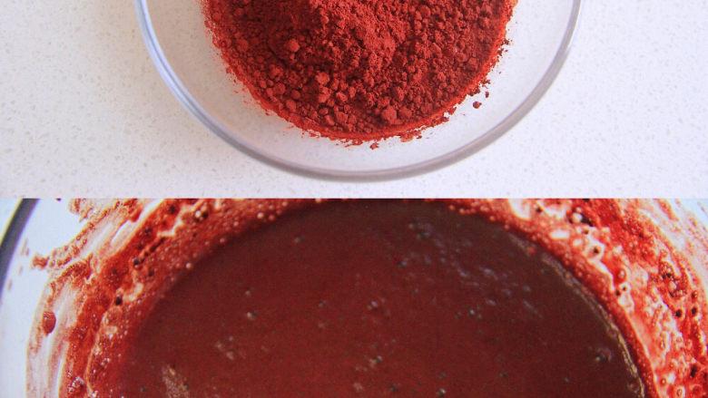 自带情话的红丝绒奶油蛋糕,1、制作蛋黄糊:先将红曲粉用温<a style='color:red;display:inline-block;' href='/shicai/ 219'>牛奶</a>调匀,备用。