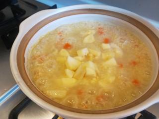 苹果小米粥,苹果倒入在一起熬制10分钟。