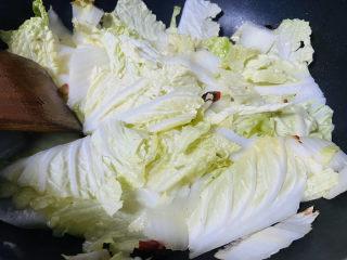 醋溜大白菜,入白菜叶翻炒均匀