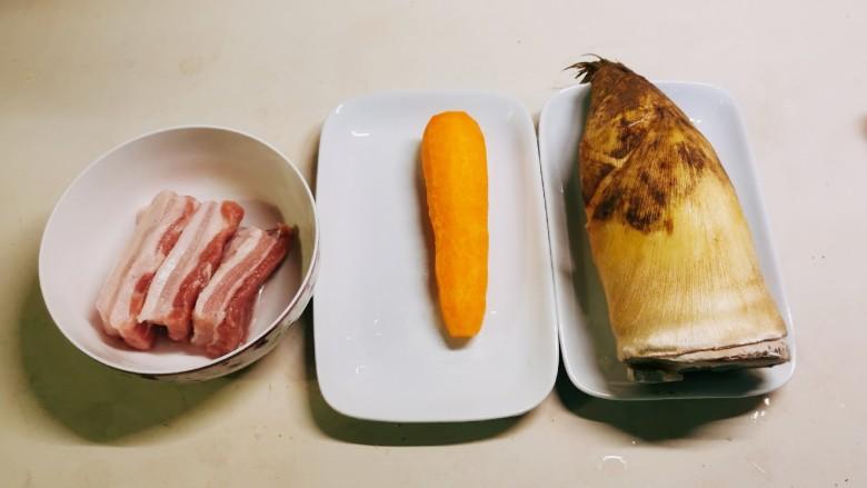 冬笋炒五花肉,食材准备好