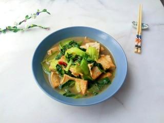 油菜豆腐,盛出