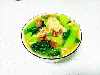 羊肉、上海青糊涂面条,盛入碗中