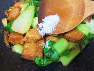油菜豆腐,放糖中和一下豆瓣酱的咸味。