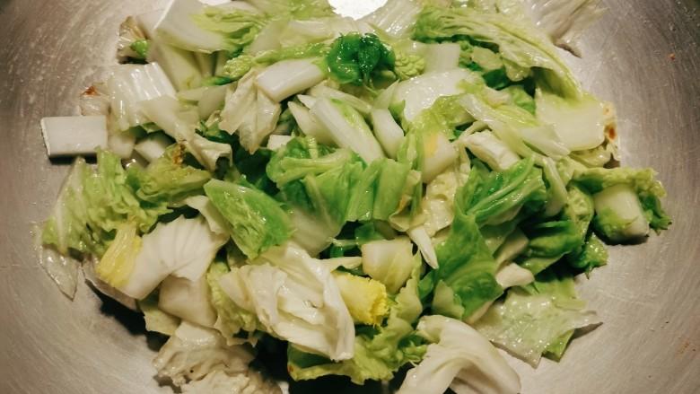 大白菜炖粉条,放入白菜翻炒2分钟
