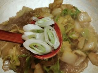 大白菜炖粉条,放入葱片