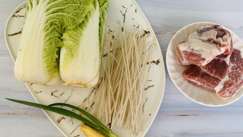 大白菜炖粉条,准备材料