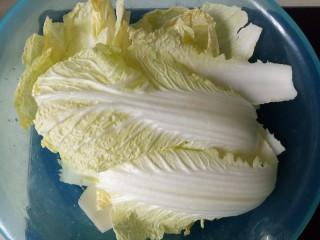 大白菜炖粉条,将白菜清洗干净